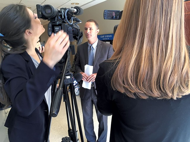 T.J. Donovan talking to reporters - MARK DAVIS