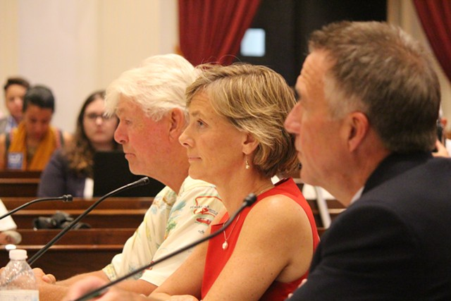 Bill Lee, Sue Minter and Phil Scott at a gubernatorial forum Thursday at the Statehouse - PAUL HEINTZ