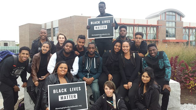 Student participants at the Black Lives Matter rally - KYME SARI