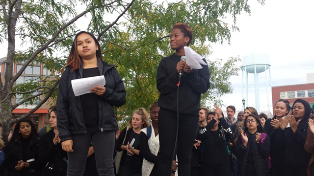 Haydee Guadalupe Miranda and Akilah Ho-young lead the rally. - KYME SARI