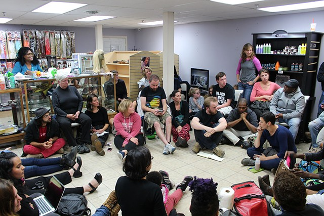 A Black Lives Matter-Vermont meeting Monday in Winooski - PAUL HEINTZ
