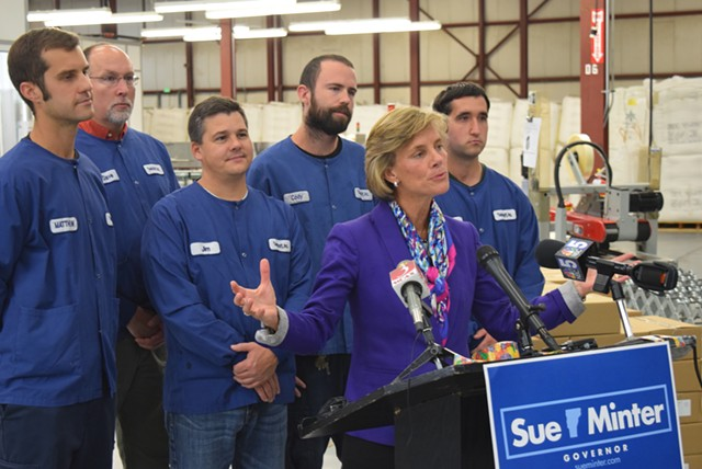 Democratic gubernatorial candidate Sue Minter speaks at a Monday press conference at Twincraft Skincare in Essex Junction on Monday. - TERRI HALLENBECK