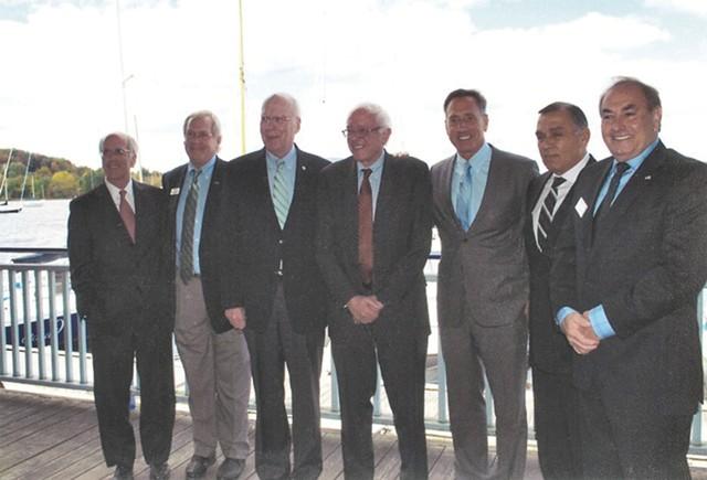 Left to right: Congressman Peter Welch, Bill Stenger, Sen. Patrick Leahy, Sen. Bernie Sanders, Gov. Peter Shumlin, Ariel Quiros and William Kelly in Newport in September 2012. - COURTESY: BILL STENGER