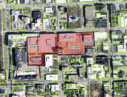 The red crosshatched area depicts the downtown overlay district. It would include the entire Burlington Town Center redevelopment. - COURTESY: CITY OF BURLINGTON