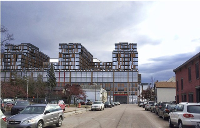 Rendering of proposed redevelopment from Cherry Street side, if the proposed zoning change passes. - COURTESY