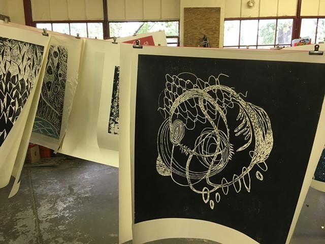 A print by Katie Loesel drying at Pine Street Studios - SADIE WILLIAMS