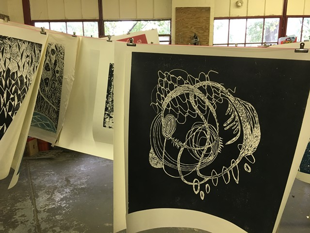 A print by Katie Loesel drying at Pine Street Studios - SADIE WILLIAMS