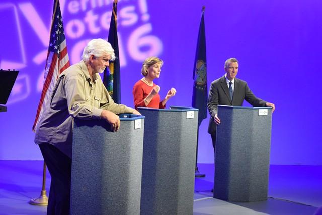 Gubernatorial candidates debate at Vermont PBS on Thursday night. From left: Liberty Union candidate Bill Lee, Democrat Sue Minter and Republican Phil Scott. - TERRI HALLENBECK