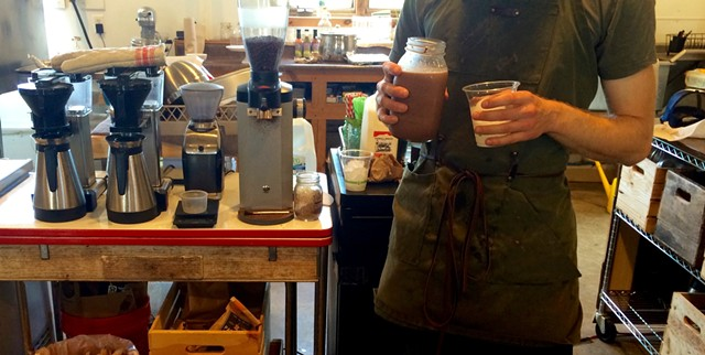 Iced maple mocha in the works at Blank Page Café - JULIA CLANCY