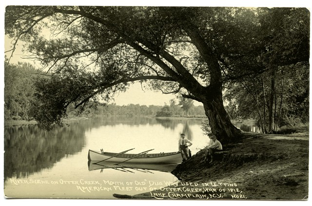 """River scene on Otter Creek showing the mouth of the """"Dugway"""" - COURTESY OF LAKE CHAMPLAIN MARITIME MUSEUM"""