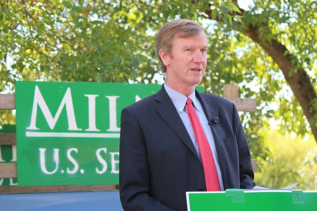 Republican Senate candidate Scott Milne last month in South Burlington - PAUL HEINTZ