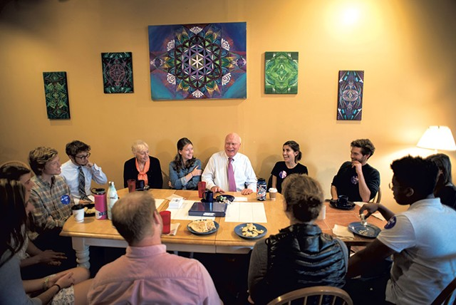 Sen. Patrick Leahy at lunch with Middlebury College students - CALEB KENNA