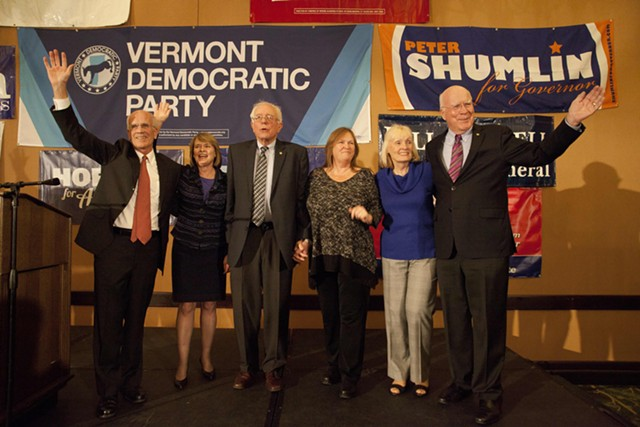 Congressman Peter Welch, Margaret Cheney, Sen. Bernie Sanders, Jane O'Meara Sanders, Marcelle Leahy and Sen. Patrick Leahy on Election Night 2014 in Burlington - FILE: MATTHEW THORSEN