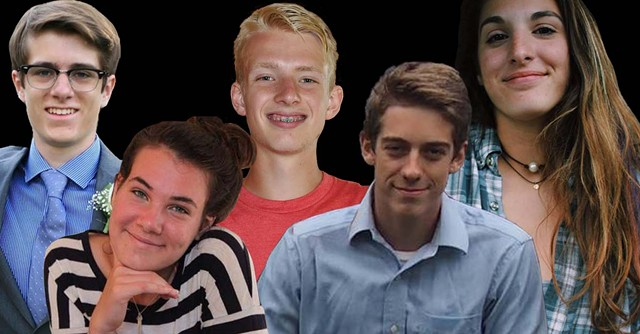 From left to right: Liam Hale of Fayston, Mary Harris of Moretown, Eli Brookens of Waterbury, Cyrus Zschau of Moretown and Janie Cozzi of Fayston - FACEBOOK, INSTAGRAM AND COURTESY PHOTOS