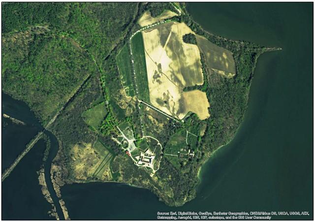 Satellite image of Fort Ticonderoga