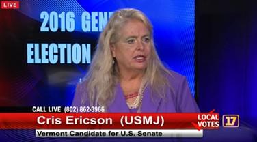 Cris Ericson at a Channel 17 debate Tuesday in Burlington - SCREENSHOT