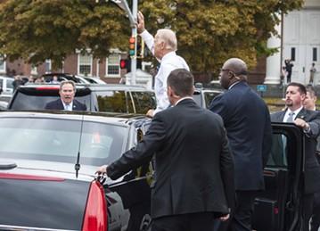 Vice President Joe Biden Friday morning in downtown Burlington - POOL: GLENN RUSSELL/BURLINGTON FREE PRESS