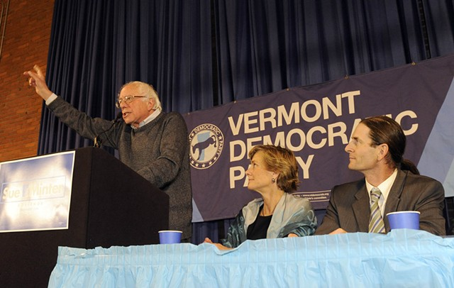 Sen. Bernie Sanders (I-Vt.), left, rallies a crowd Friday night in Montpelier for Democratic gubernatorial candidate Sue Minter and David Zuckerman, Progressive/Democratic candidate for lieutenant governor. - JEB WALLACE-BRODEUR/SEVEN DAYS
