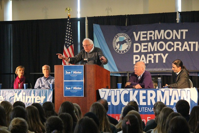 Sen. Bernie Sanders stumps for Sue Minter, far left, and David Zuckerman, far right, Sunday in Burlington at the University of Vermont. - PAUL HEINTZ