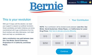 A Sanders web page designed to raise money for five candidates and causes. - SCREENSHOT
