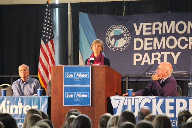 Sue Minter on Sunday at the University of Vermont, with Congressman Peter Welch and Sen. Patrick Leahy - FILE: PAUL HEINTZ
