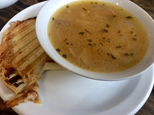 Fontina-and-apple panini with white-bean-and-ham soup - SUZANNE PODHAIZER