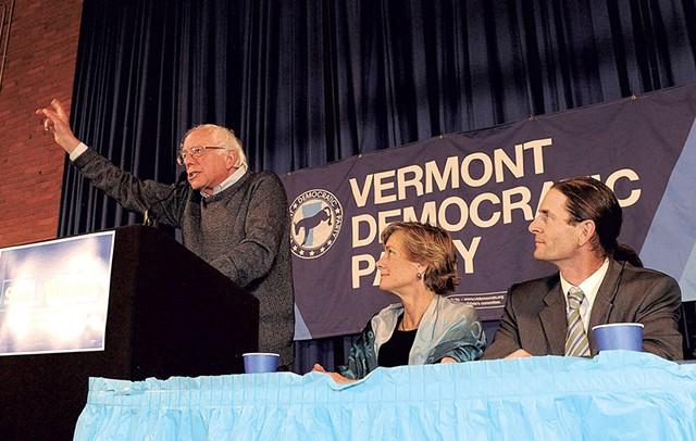 Sen. Bernie Sanders campaigning in Montpelier - for Sue Minter and David Zuckerman - JEB WALLACE-BRODEUR
