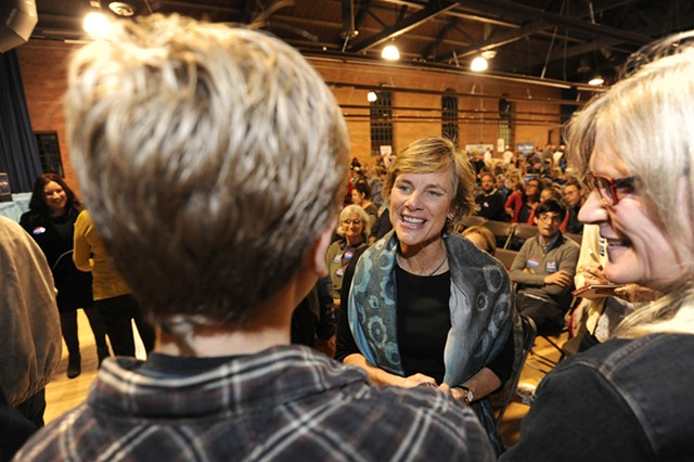 Sue Minter last month at a rally in Montpelier - FILE: JEB WALLACE-BRODEUR