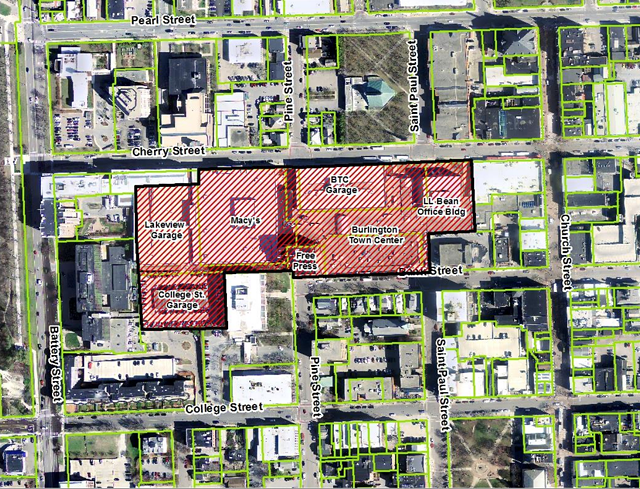 The red area depicts the downtown overlay district that would include the Burlington Town Center redevelopment. - COURTESY: CITY OF BURLINGTON
