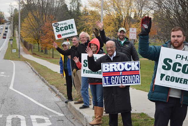 Phil Scott, Randy Brock and supporters on Saturday on North Avenue in Burlington - TERRI HALLENBECK/SEVEN DAYS