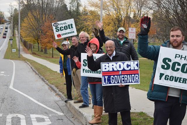 Phil Scott, Randy Brock and supporters on Saturday on North Avenue in Burlington - TERRI HALLENBECK/SEVEN DAYS