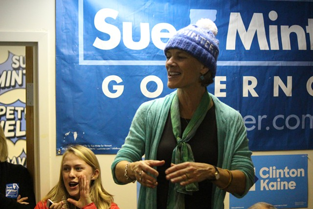 Sue Minter campaigning Sunday afternoon at the Vermont Democratic Party's Burlington office - PAUL HEINTZ