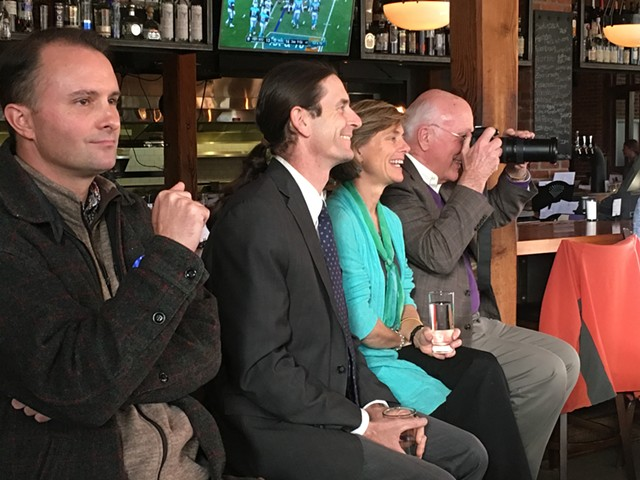 T.J. Donovan, David Zuckerman, Sue Minter and Patrick Leahy campaigning Sunday at Waterworks Food + Drink in Winooski - PAUL HEINTZ