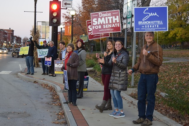 Franklin County candidates greet passersby Monday afternoon in St. Albans. - TERRI HALLENBECK/SEVEN DAYS