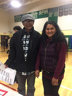 Kashi Ghimirey, 61, and his daughter, Rita Neopaney, 37, at Colchester High School - COURTESY PHOTO