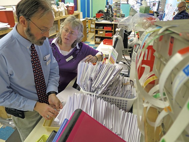 Earl Pease and Starr LaJoice at Lakeside Pharmacy - MATTHEW THORSEN