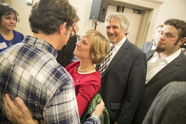 Sue Minter greets supporters Tuesday night. - JAMES BUCK