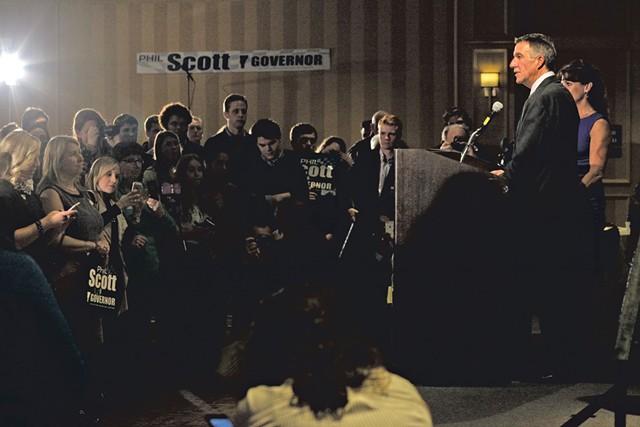 Phil Scott speaking to supporters at Republican headquarters in Burlington - MATTHEW THORSEN