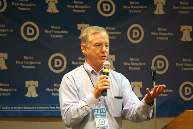 Former governor Howard Dean addresses Vermont delegates to the Democratic National Convention in Philadelphia last July. - FILE: PAUL HEINTZ