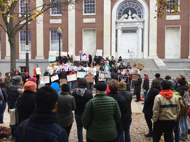 An anti-Trump rally Friday in City Hall Park - SASHA GOLDSTEIN