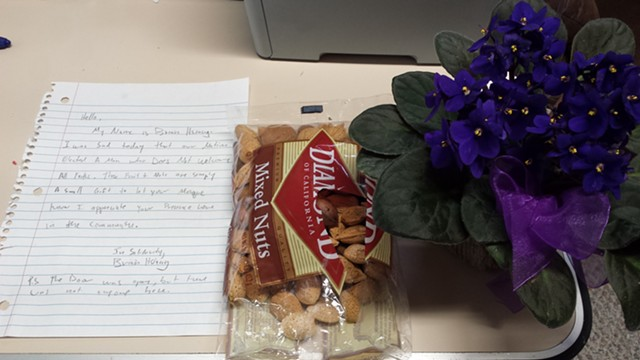 Letter and gifts from community members to the Islamic Society of Vermont - KYMELYA SARI