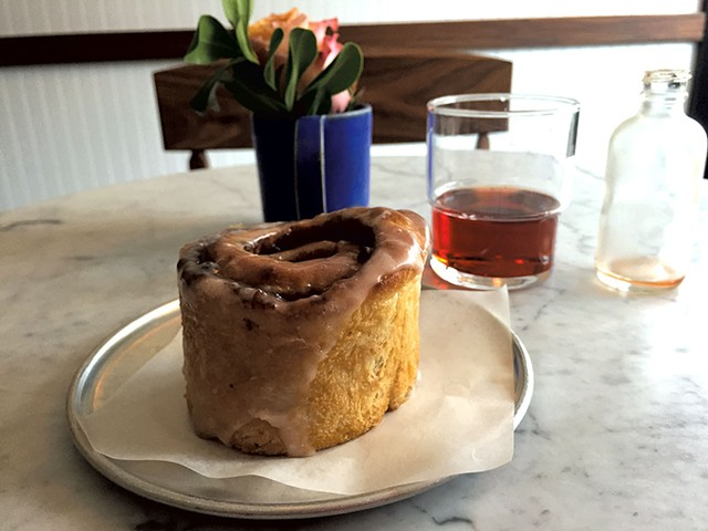 Sticky bun and Negroni Popper at Monarch & the Milkweed