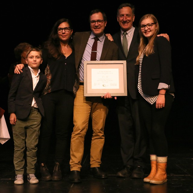 Gov. Shumlin with Excellence in the Arts award winner Eric Aho and family - RACHEL STEARNS