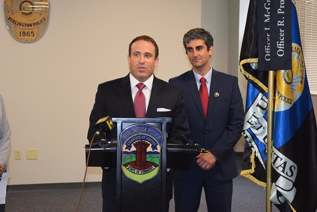 Burlington Police Chief Brandon del Pozo (left) and Mayor Miro Weinberger - FILE: TERRI HALLENBECK