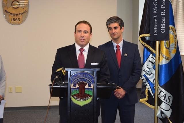 Burlington Police Chief Brandon del Pozo (left) and Mayor Miro Weinberger - FILE: TERRI HALLENBECK