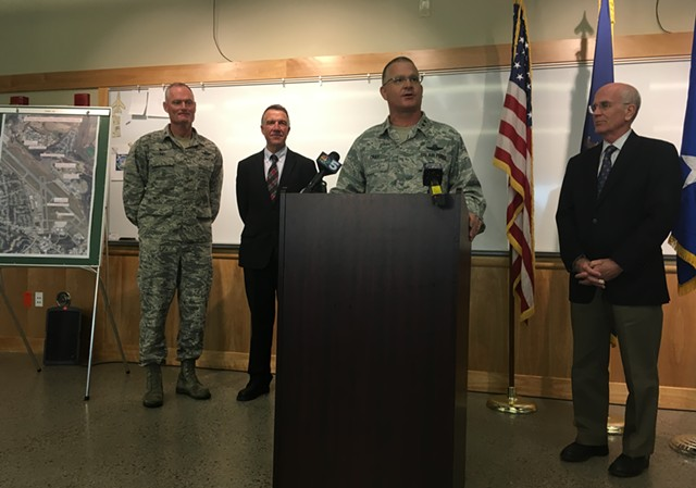 Major General Steven Cray announces a deployment to the Middle East. Behind him, from left, are Col. Patrick Guinee, governor-elect Phil Scott and U.S. Rep. Peter Welch (D-Vt.). - MARK DAVIS