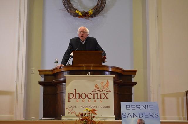 Sen. Bernie Sanders at a book tour event in Burlington Tuesday night - ALICIA FREESE