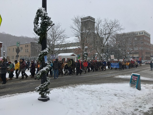 Marchers on State Street in Montpelier - RACHEL JONES