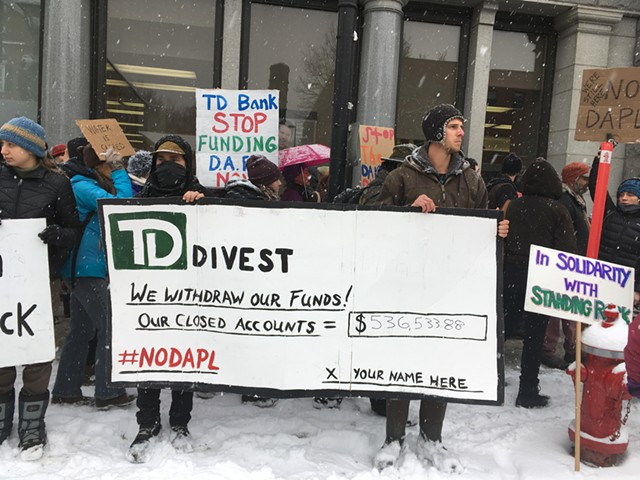 Protesters urging divestment from TD Bank - RACHEL JONES