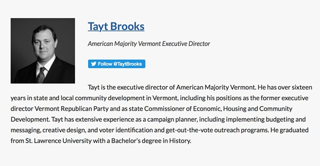 Tayt Brooks' biography on American Majority's website - SCREENSHOT